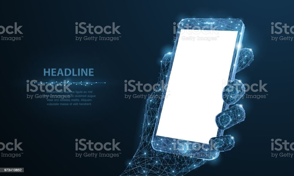 Mobile phone. Abstract polygonal wireframe closeup mobile phone with blank white empty screen in holding man hand and fingers.