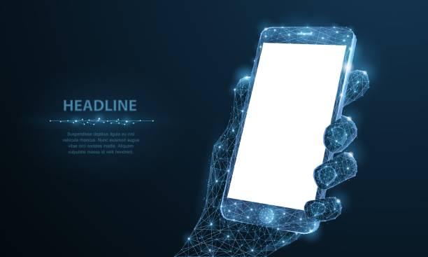 휴대 전화입니다. 남자 손 및 손가락에 빈 흰색 빈 화면이 휴대폰 근접 촬영 다각형 와이어 프레임을 추상화 합니다. - hand holding phone stock illustrations