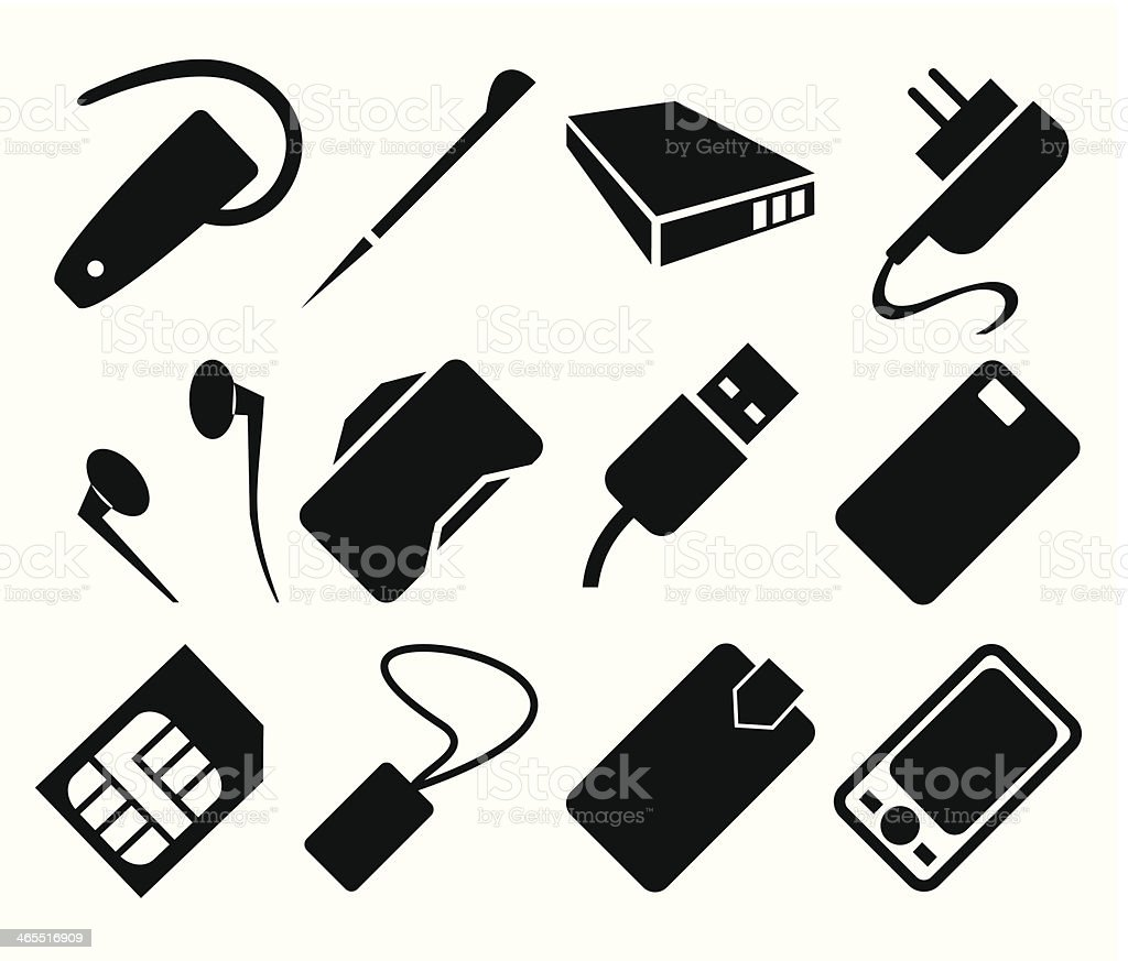 Mobile Phone Accessories Icon Set royalty-free stock vector art