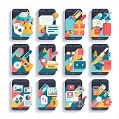 A set of 12 flat and cool smart phone activities icon set.