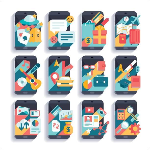 ilustrações, clipart, desenhos animados e ícones de conjunto de ícones de atividades de telefone móvel - viagem de primeira classe