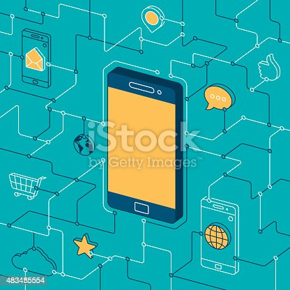Mobile phone and apps background flat design isometric line drawing design. EPS 10 file. Transparency effects used on highlight elements.