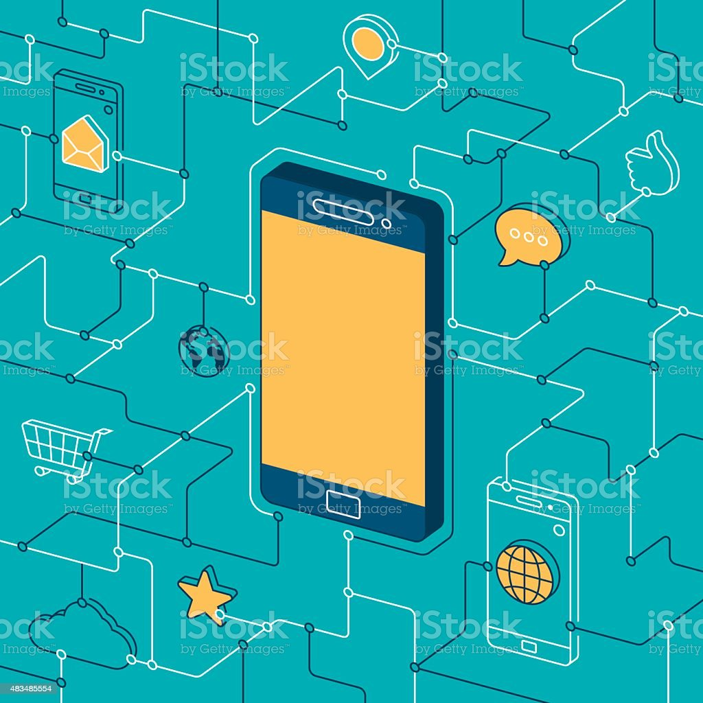 Mobile Phone and Apps vector art illustration