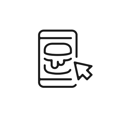 Mobile phone and burger icon. Mobile food ordering, online food ordering concepts. Food delivery. Vector line icon
