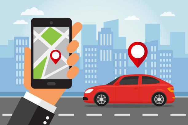 Teléfono móvil y el coche - ilustración de arte vectorial