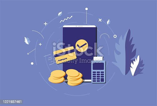 istock Mobile phone and credit card, money, living consumption, mobile consumption 1221937461