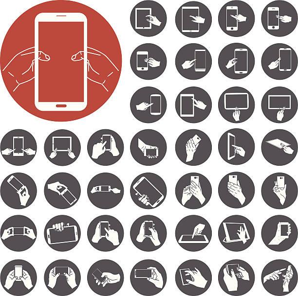 Handy und digitale tablet-PC mit mit hand berühren Bildschirm – Vektorgrafik