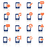 An illustration of mobile phone and media two color icons set for your web page, presentation, apps and design products. Vector format can be fully scalable & editable.