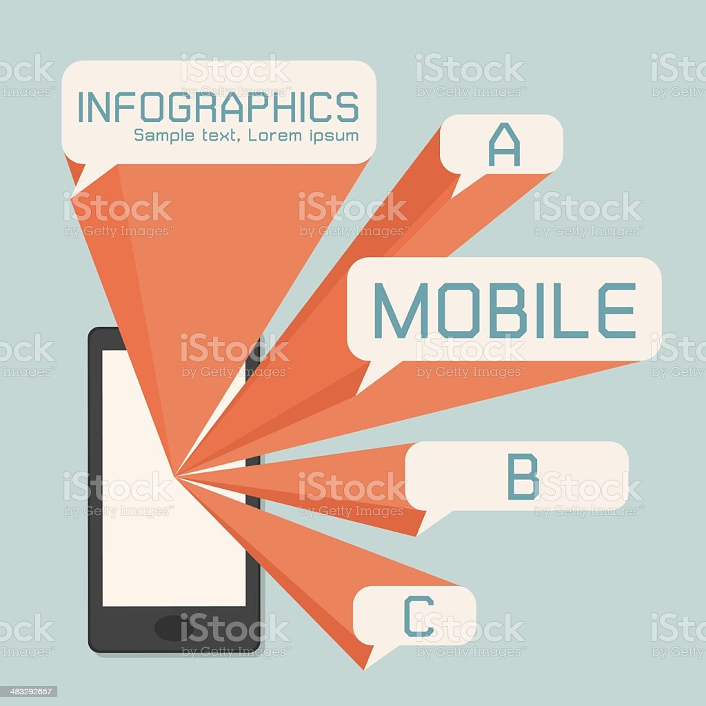 mobile phone and speech bubble royalty-free stock vector art