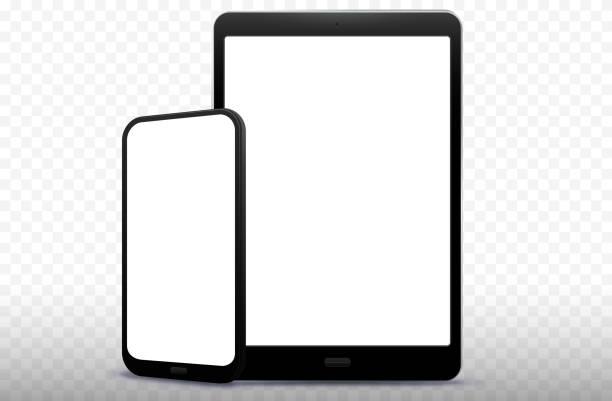 ilustrações de stock, clip art, desenhos animados e ícones de mobile phone and tablet computer vector illustration with transparent background - vertical