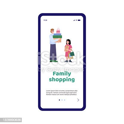 istock Mobile phone app with happy family of shoppers on shopping a vector illustration 1328890636