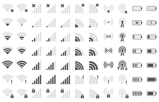 Mobile phone bar icons. Smartphone battery charge level, wifi signal strength icon and network connection levels pictogram vector set vector art illustration