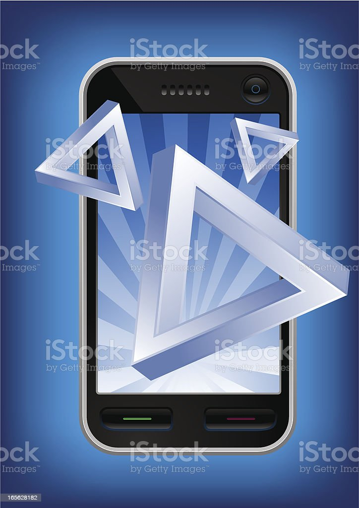 Mobile phone bursting impossible illusion triangles. royalty-free mobile phone bursting impossible illusion triangles stock vector art & more images of 3g