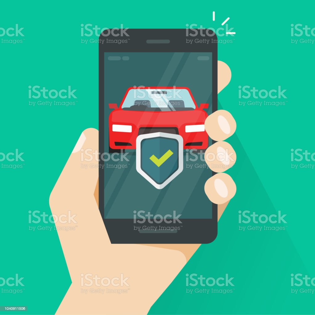 Handy Auto Schutz Vektorillustration Flaches Smartphone Mit Kfz