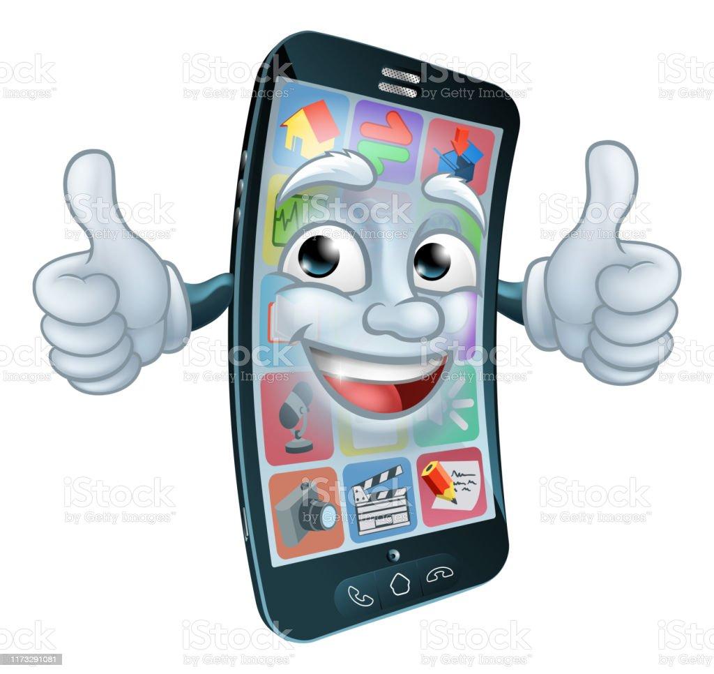 携帯電話の携帯電話マスコット漫画のキャラクター 1人の