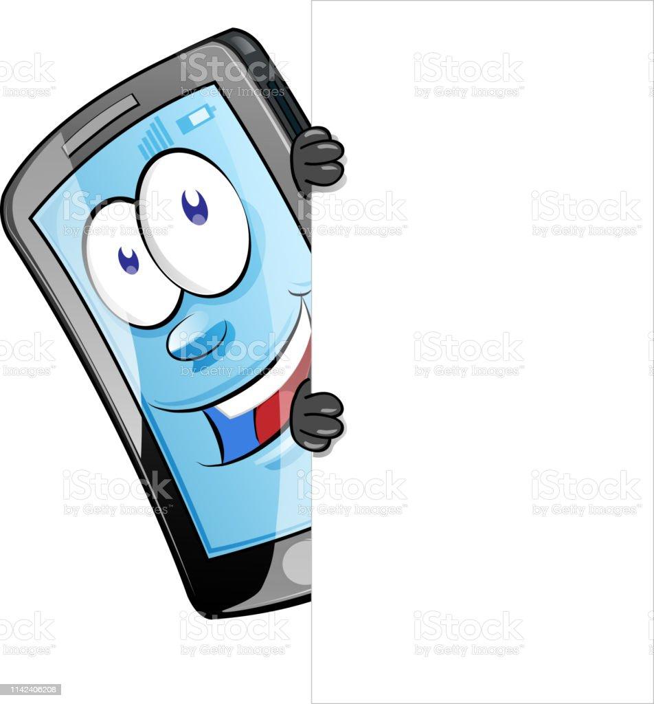 Caractère De Téléphone Portable Avec Le Signe Blanc Vector Clip Art Vecteurs libres de droits et plus d'images vectorielles de Affichage digital - iStock