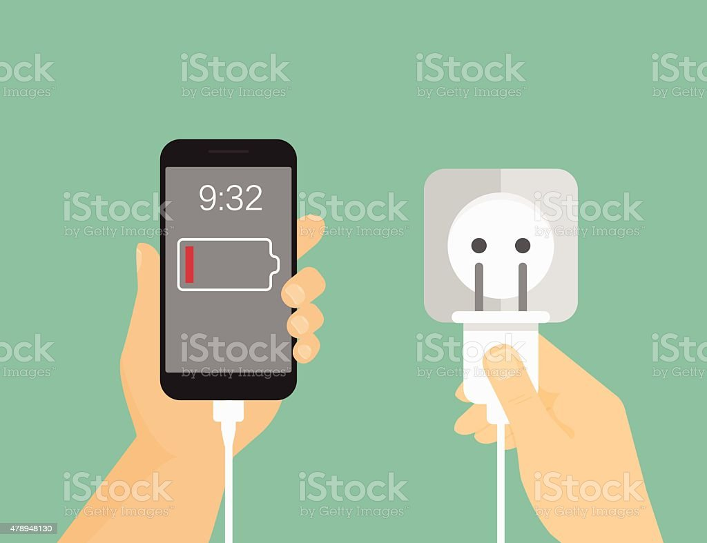 Mobile phone charging process vector art illustration