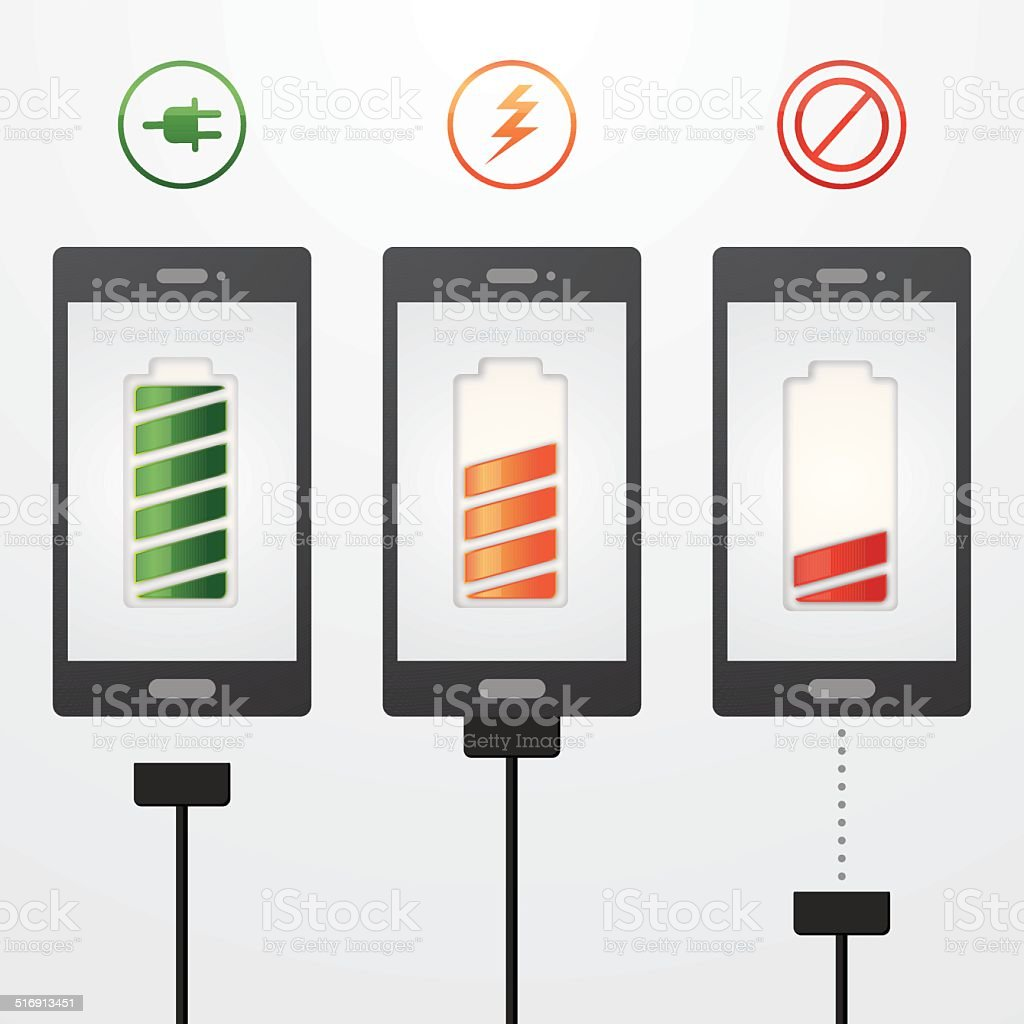 Mobile phone charging vector art illustration