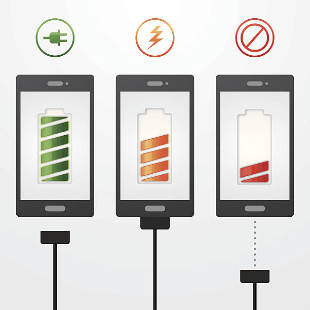 Mobile phone charging Mobile phone charging. EPS10. This illustration contains transparent and blending mode objects. All design elements are layered and grouped. Can be modified easily. cell phone charger stock illustrations