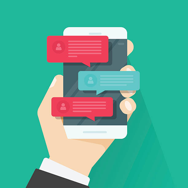 Mobile phone chat message notifications, chatting, concept of online talking vector art illustration