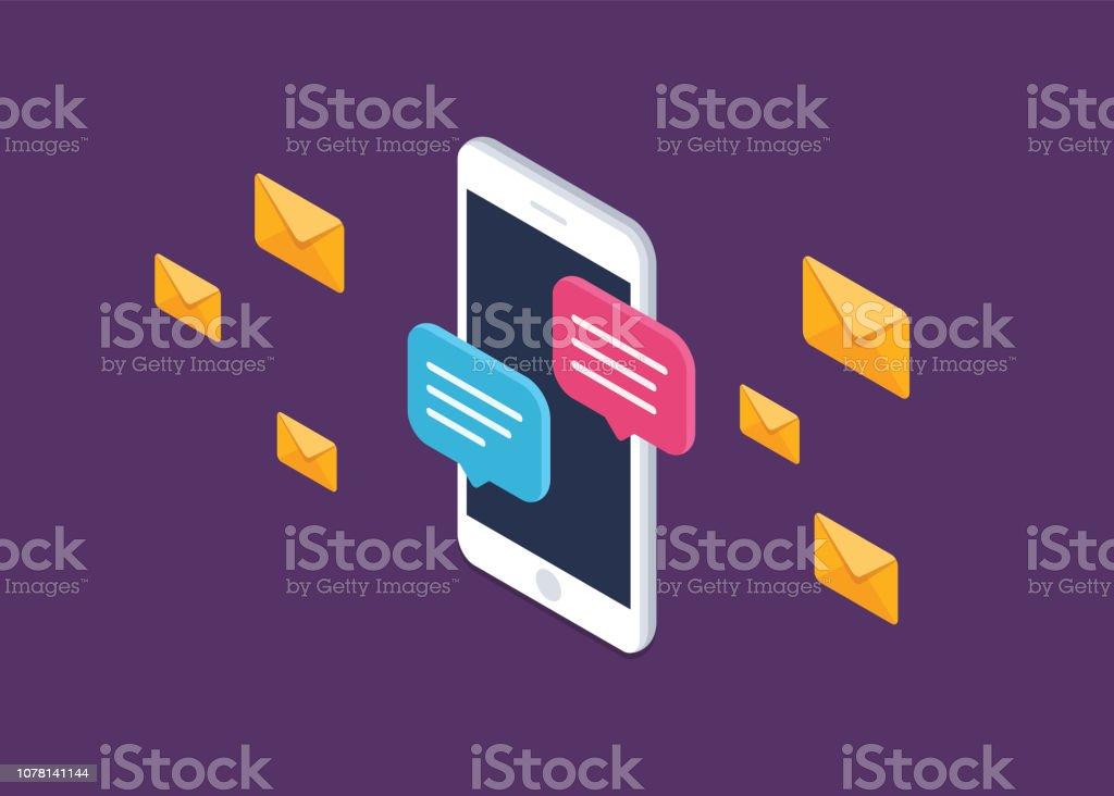 Mensaje de chat móvil notificaciones vector icono aislado línea contorno, smartphone chat pictograma de discursos de burbuja, concepto de hablar en línea, hablar de mensajería, conversación, símbolo de diálogo, isométrico ilustración. - arte vectorial de Adulto joven libre de derechos
