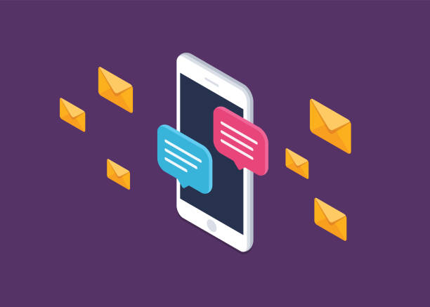 Mobile phone chat message notifications vector icon isolated line outline, smartphone chatting bubble speeches pictogram, concept of online talking, speak messaging, conversation, dialog symbol, isometric illustration. Isometric, flat illustration. online dating stock illustrations