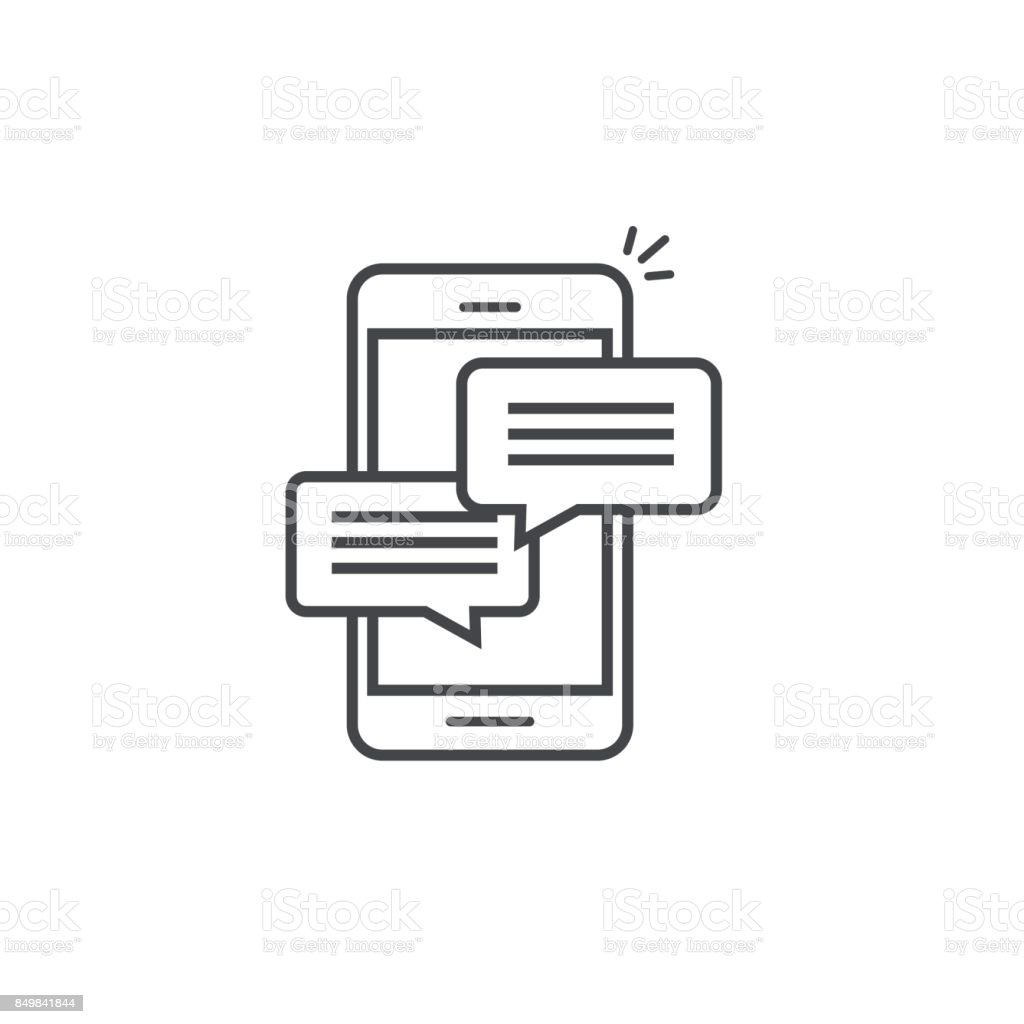 Mobile phone chat message notifications vector icon isolated line outline, smartphone chatting bubble speeches pictogram, concept of online talking, speak messaging, conversation, dialog symbol