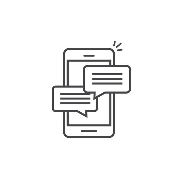 handy-chat-nachricht, dass benachrichtigungen vektor, symbol isolierten linie umriss, smartphone im chat blase reden piktogramm, konzept der online-reden, sprechen, messaging, gespräch, dialog-symbol - sms stock-grafiken, -clipart, -cartoons und -symbole
