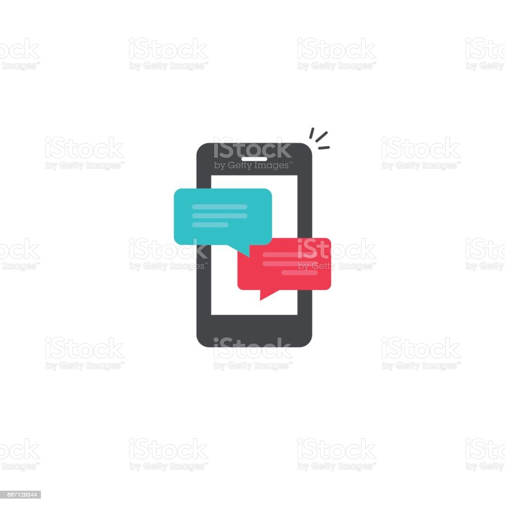 Mobile phone chat message notifications vector icon, smartphone chatting bubble speeches, online talking, messaging vector art illustration