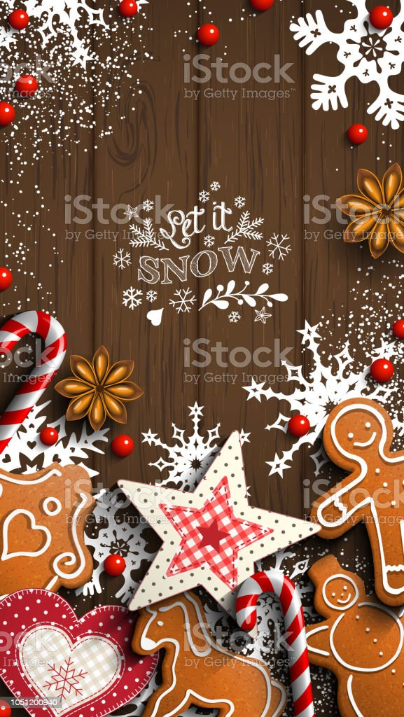 mobile phone christmas wallpaper gingerbread and ornaments on wood royalty free mobile phone christmas - Christmas Wallpaper For Phone