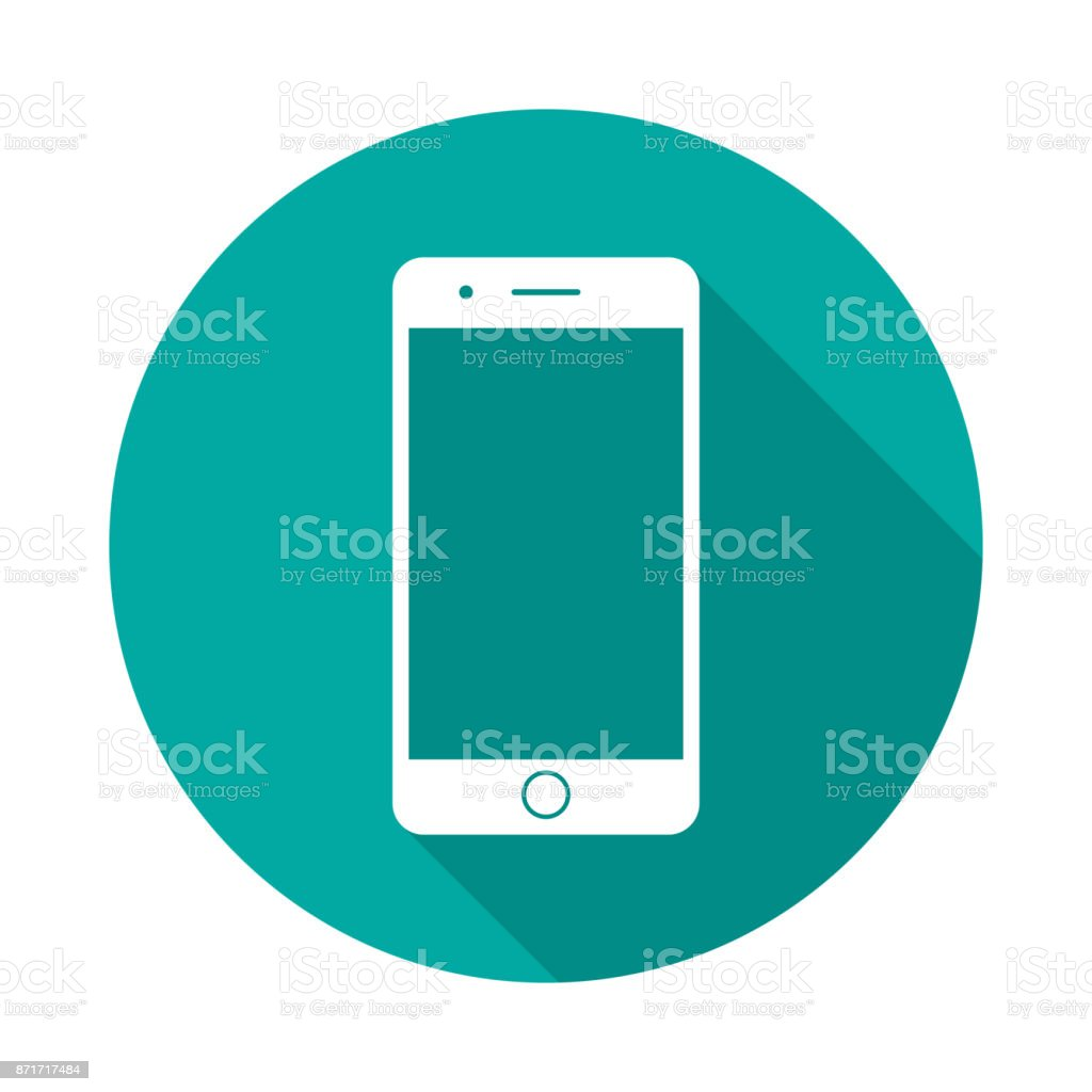 Mobile phone circle icon with long shadow. Flat design style. vector art illustration
