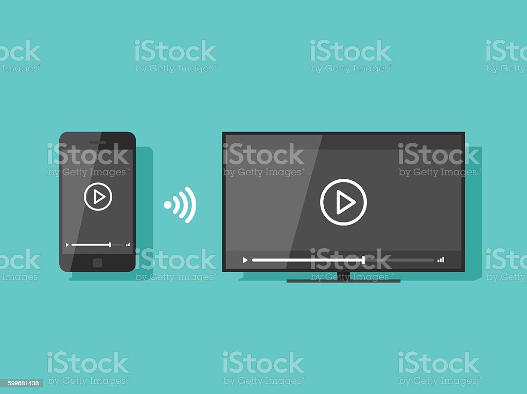 Mobile phone connected to TV streaming video vector illustration vector art illustration