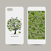 Mobile phone cover design. Tropical tree sketch