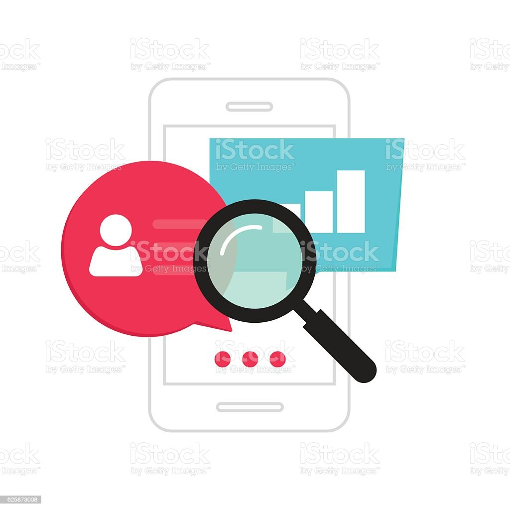 Mobile phone data analytics concept, smartphone social statistics analysis vector art illustration