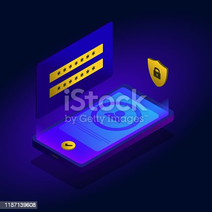 istock Mobile phone data protection with user authentication form and secure icon. Private security data file storage, authorization form with login and password check concept and application verification 1157139608