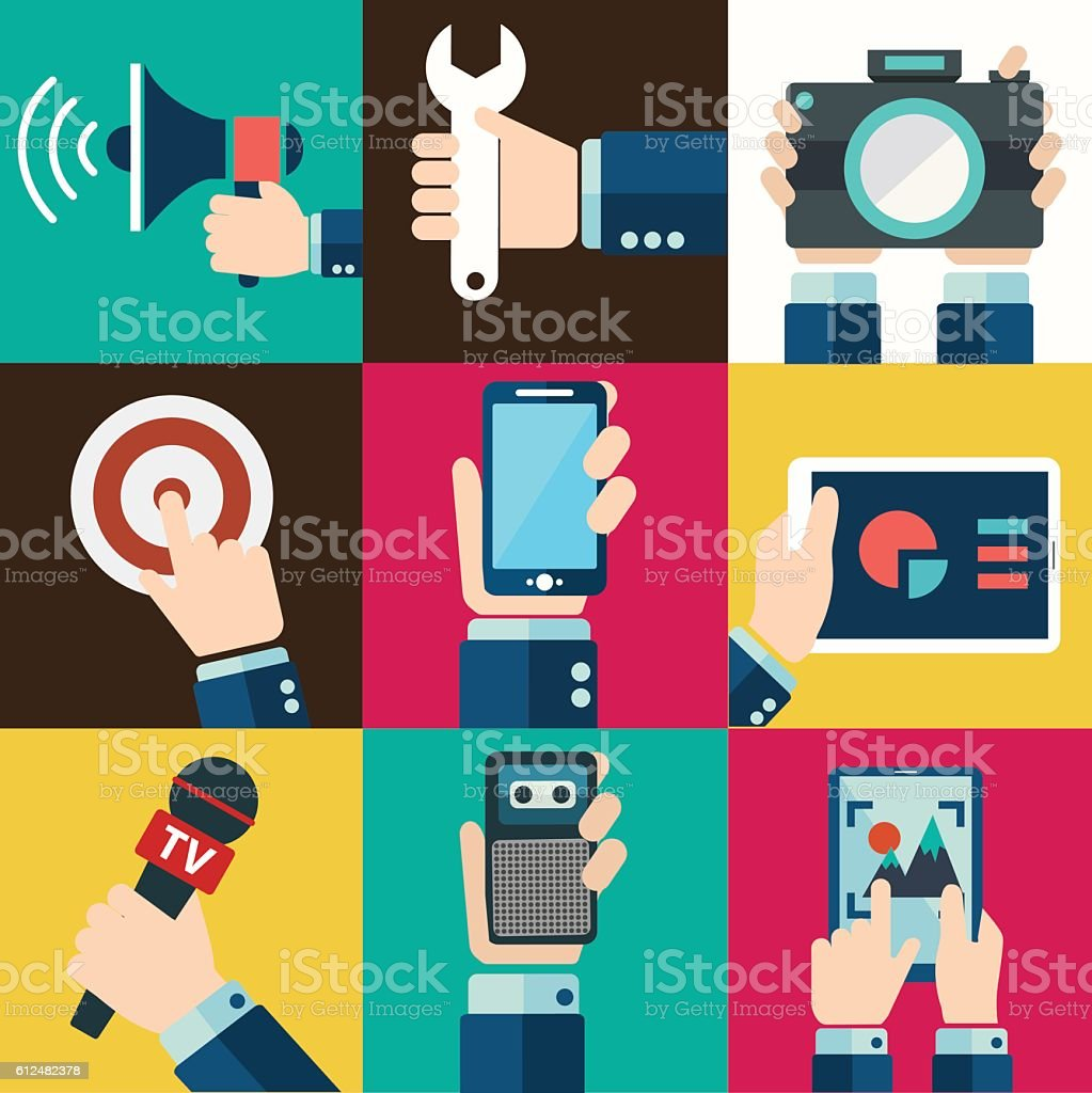 Mobile phone, digital tablet other devices using with hand symbol. vector art illustration