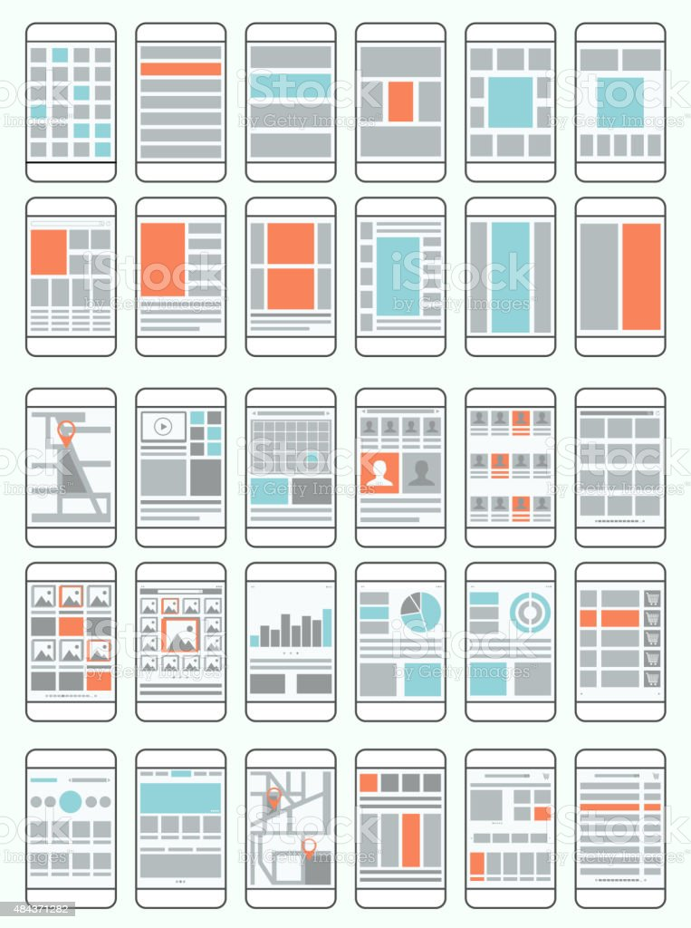 Mobile phone flow charts, wireframes, set of interface layouts vector art illustration