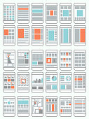 Mobile phone flow charts, wireframes, set of interface layouts