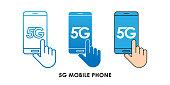 5G Mobile Phone icon logo vector illustration. 5G internet connection vector template design. 5G network technology vector illustration for web, sign, symbol, logo, app, UI.