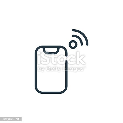 istock mobile phone icon vector from internet of things concept. Thin line illustration of mobile phone editable stroke. mobile phone linear sign for use on web and mobile apps, logo, print media.. 1320662731