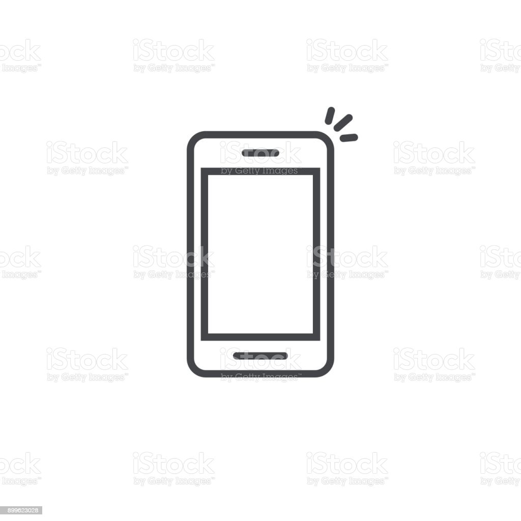 Mobile phone icon vector, line art outline smartphone symbol, simple linear cellphone pictogram isolated on white vector art illustration