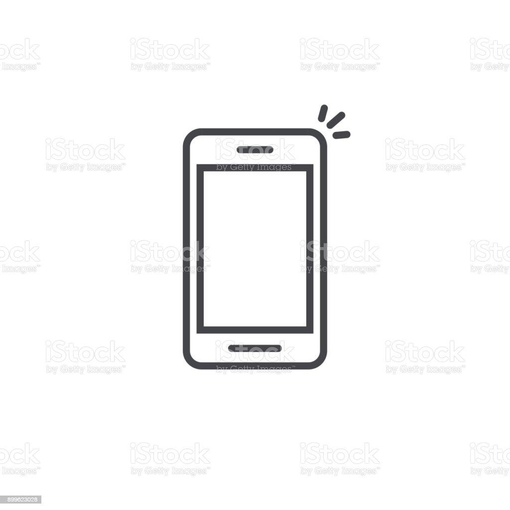 Vector icono de teléfono móvil, línea arte esquema smartphone símbolo, pictograma móvil lineal simple aislado en blanco - ilustración de arte vectorial