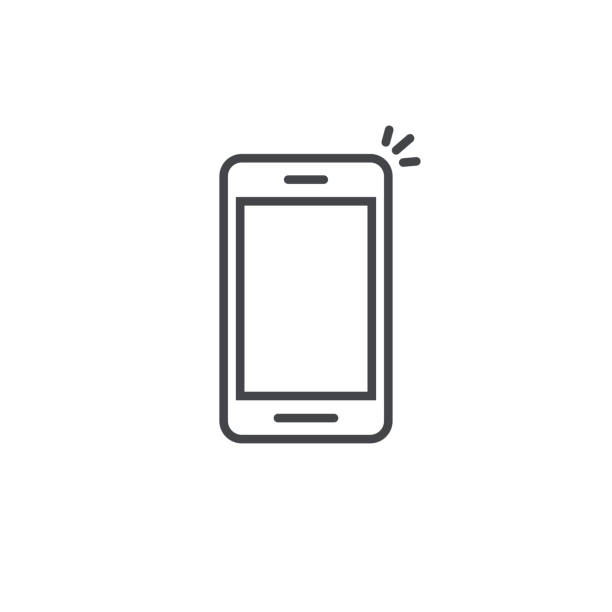 Mobile phone icon vector, line art outline smartphone symbol, simple linear cellphone pictogram isolated on white Mobile phone icon vector, line art outline style of smartphone symbol, simple linear cellphone pictogram isolated on white iphone stock illustrations