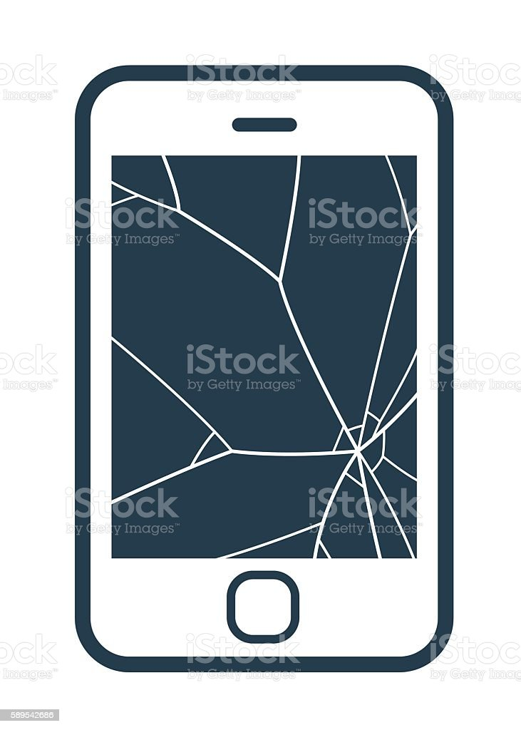 Mobile phone icon with smashed screen vector art illustration