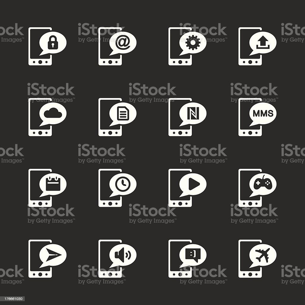 Mobile Phone Icons Set 2 - White Series | EPS10 royalty-free stock vector art