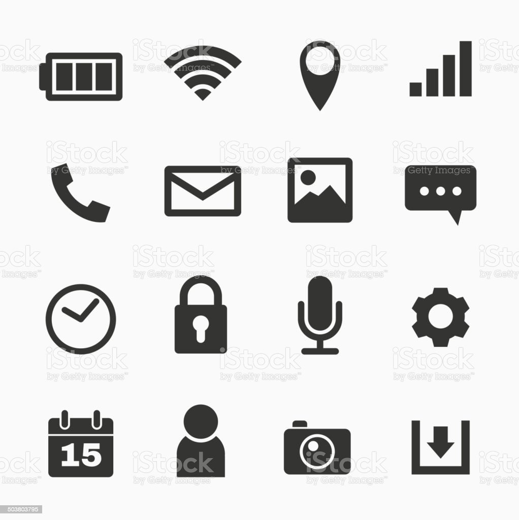 mobile phone icons stock vector art more images of battery 503803795 istock. Black Bedroom Furniture Sets. Home Design Ideas