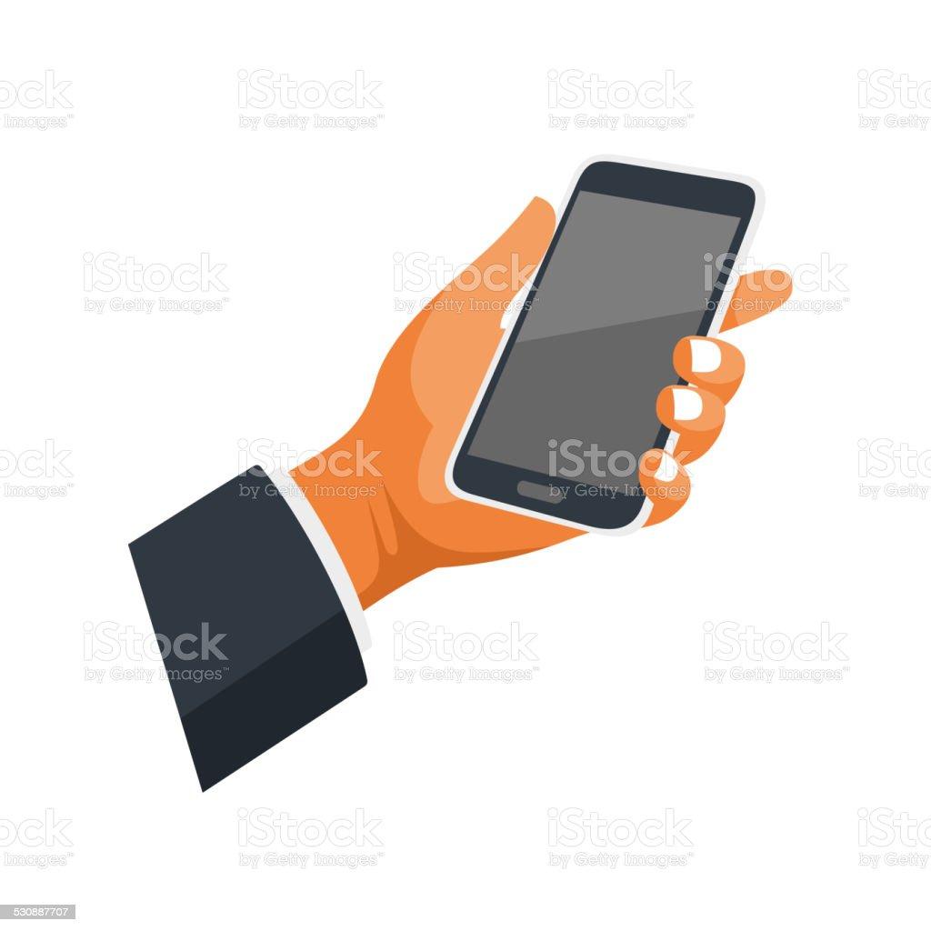 Telefono Cellulare In Mano Icona Su Sfondo Bianco Vettore Immagini