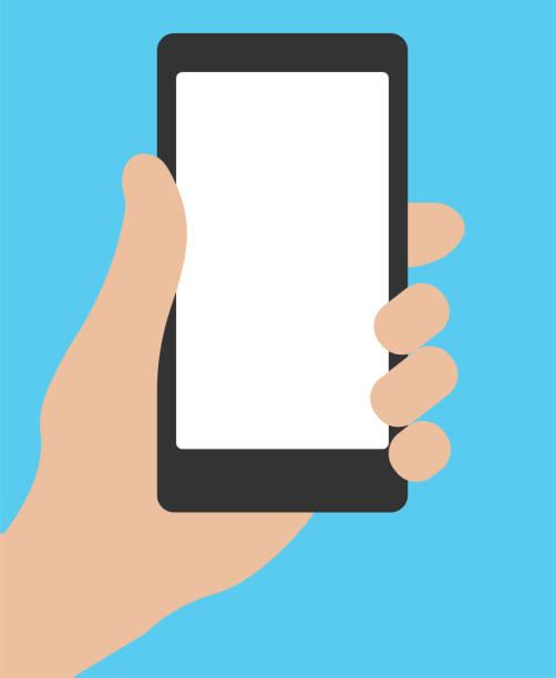 Mobile phone in hand Hand holding smartphone. Social network, social media usage on mobile device. Concept for websites, web banner. Flat design vector illustration. EPS10 hand holding phone stock illustrations