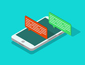 Mobile phone isometric with speech bubble. Sms chat icon in smartphone. People talk online in social media app. Client feedback notification on cellphone. Design conversation in app. vector