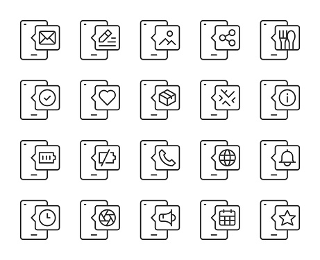 Mobile Phone Light Line Icons Vector EPS File.